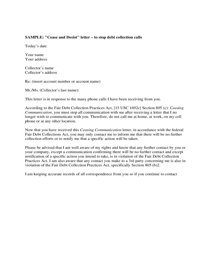 Sample Cease and Desist Letter Template Free Download