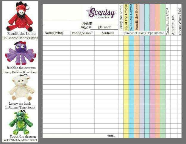 Scentsy Buddy Clip Fundraiser Order Form http://hlavigne.scentsy ...