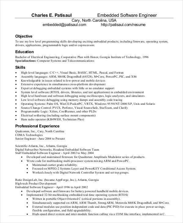 Download Embeded Firmware Engineer Sample Resume ...