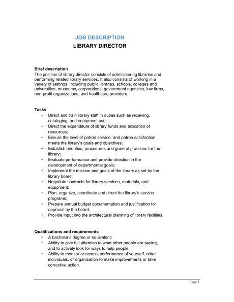 Library Director Job Description - Template & Sample Form ...