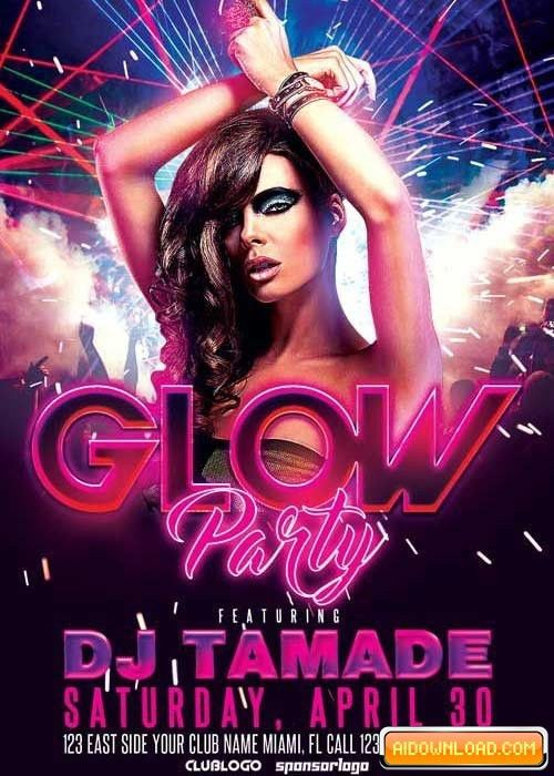 Glow Party Club V10 Flyer Template Free Download   Free Graphic ...