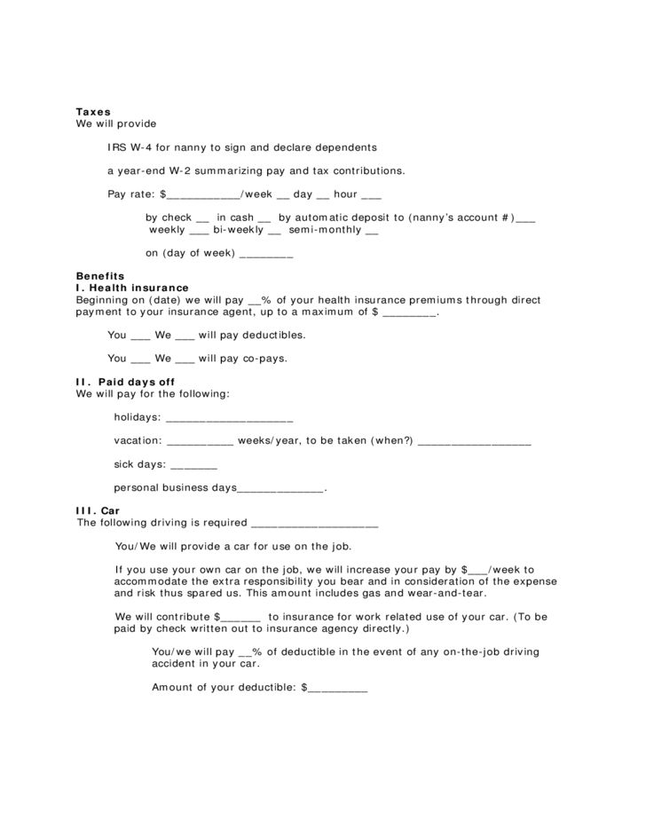 Contract Form for Live-out Nanny Free Download