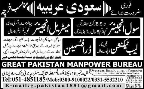 Arabia Job, Civil Engineer, Lab Technician 19 December