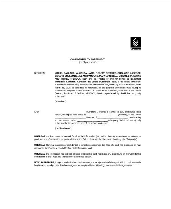 8+ Real Estate Confidentiality Agreement Templates – Free Sample ...