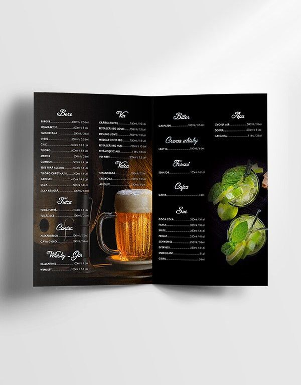 Free Drinks Menu Template • Dussk Design