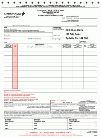 Printable Sample Bill Of Lading Template Form | Real Estate Forms ...