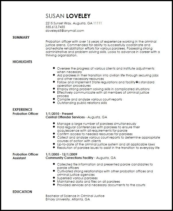 Probation Officer Resume | The Letter Sample