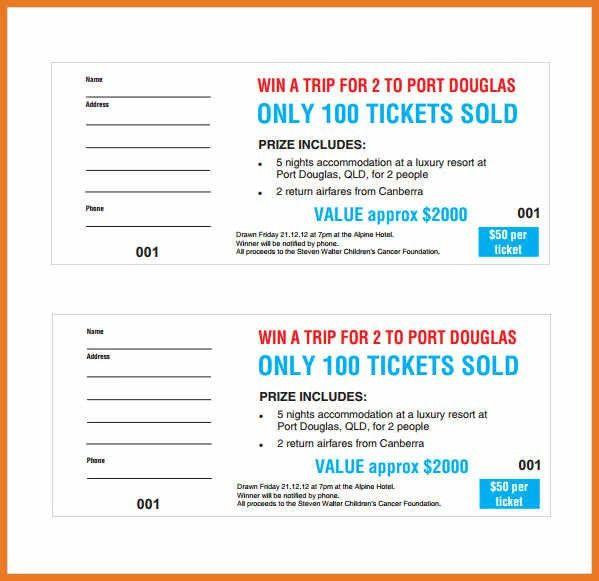 free raffle ticket template   art resume skills