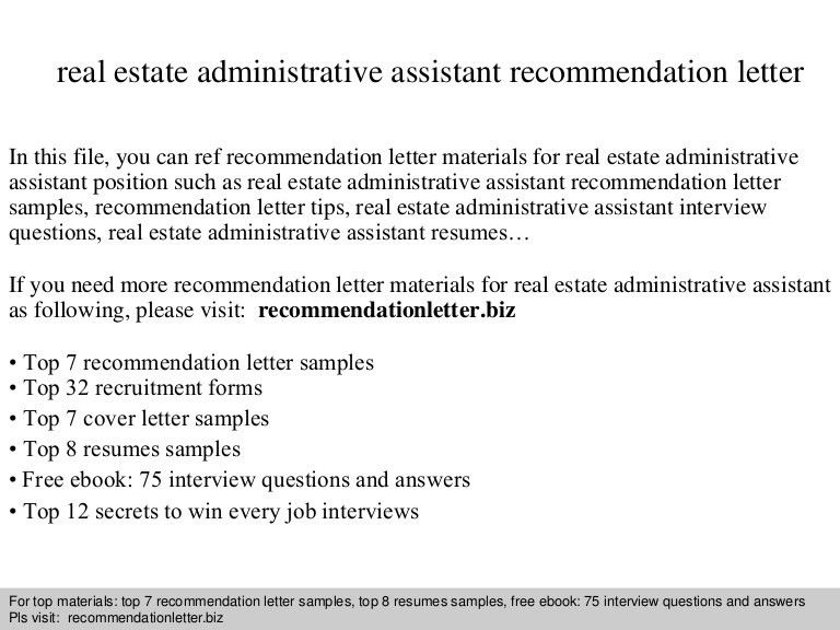 Real estate administrative assistant recommendation letter