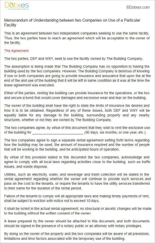 Sample Memorandum Of Lease Agreement. Real Estate Investment ...