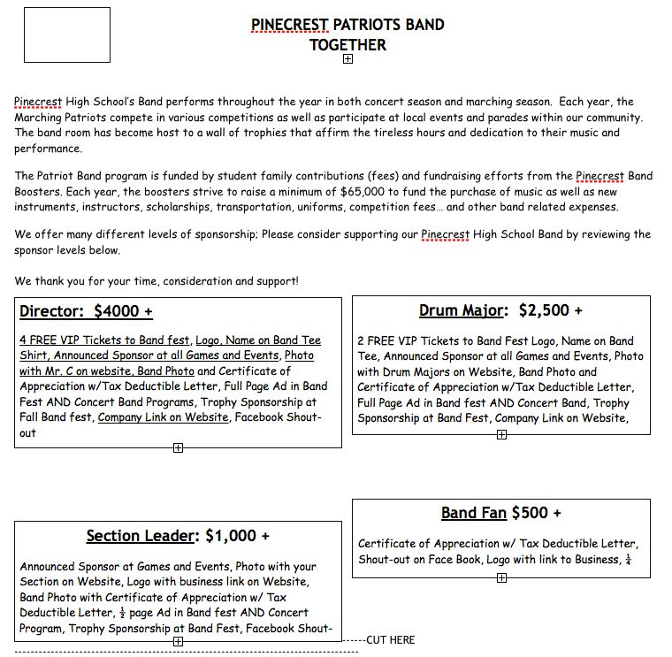 Sponsor the Band - Pinecrest High School Band