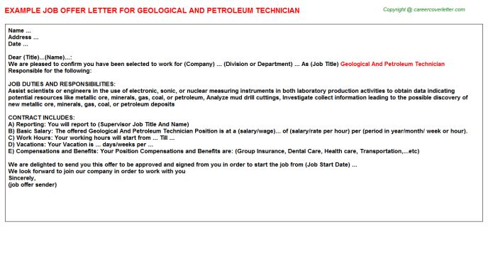 Petroleum Geologist Offer Letters