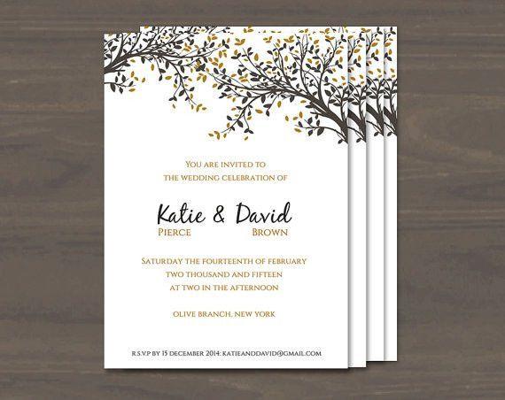 DIY Printable Wedding Invitation Template | Black and Gold Leaves ...