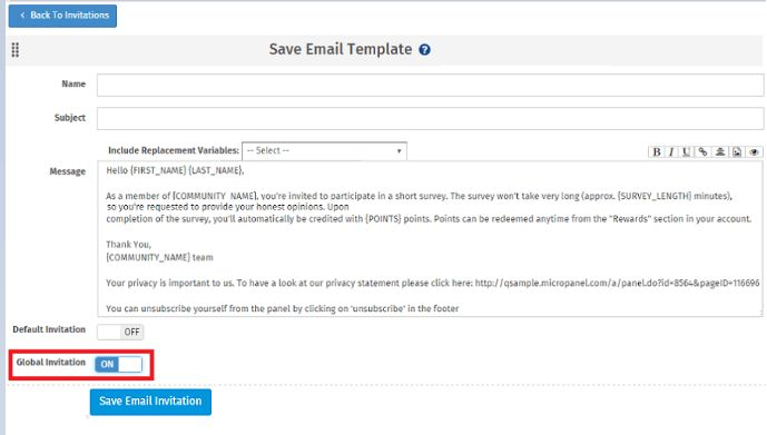 Communities - Email Invitations SurveyAnalytics Online Survey Software