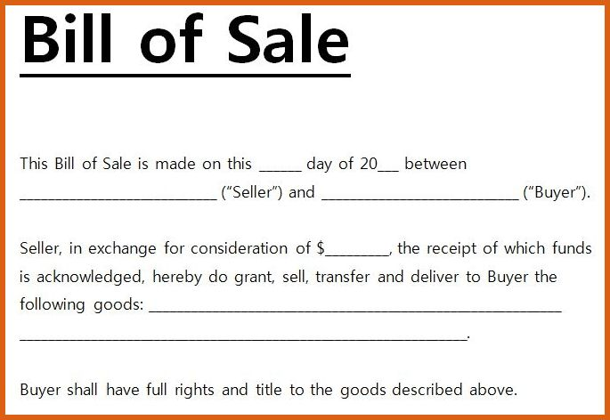 general bill of sale form | apa examples