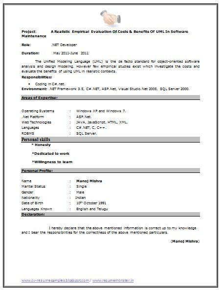Fresher Resume Sample (Page 2)   Career   Pinterest