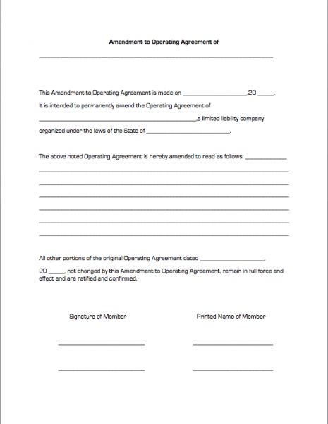 Amendment to Operating Agreement | Business Forms
