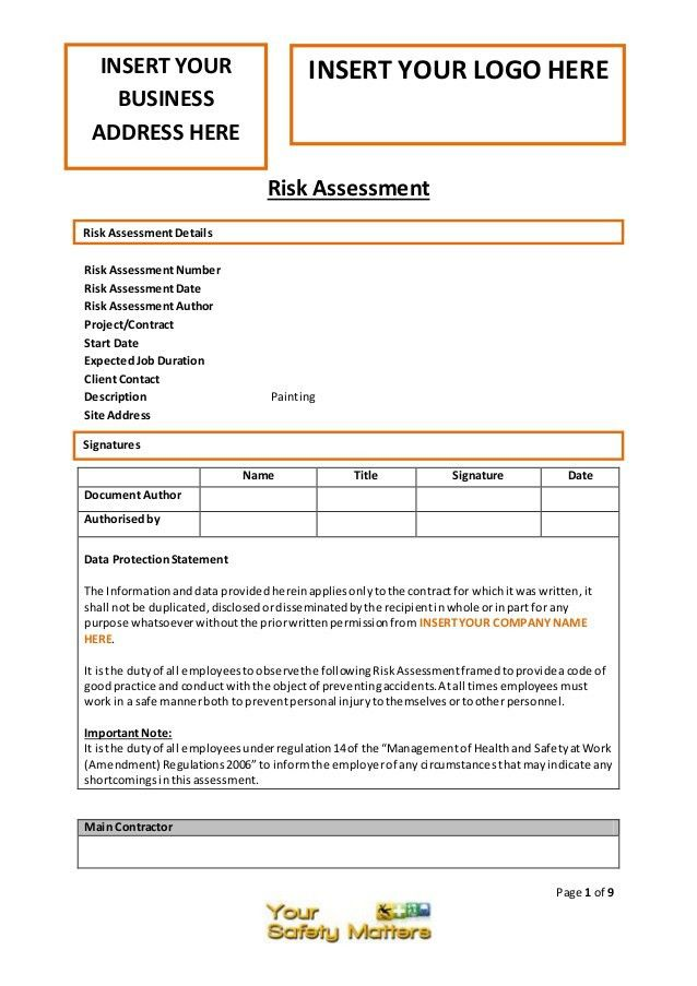 Painting risk assessment template