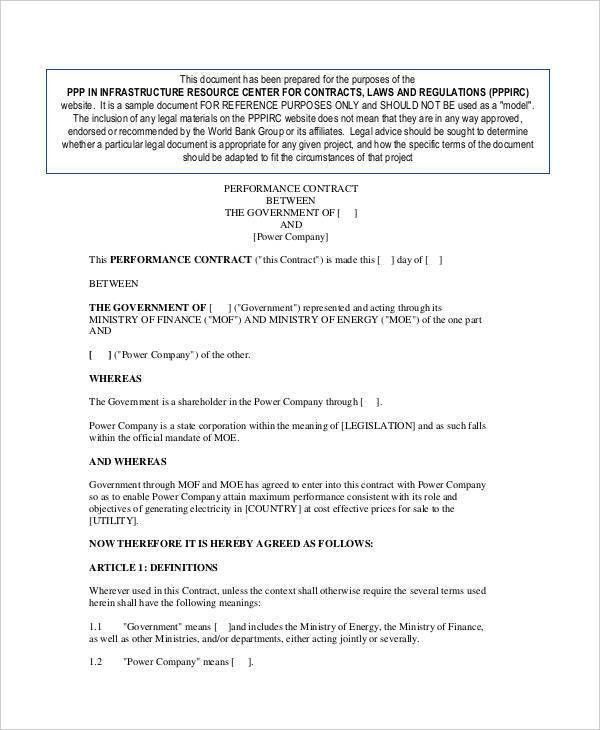 Performance Contract Template. Music Performance Contract 6 Music ...