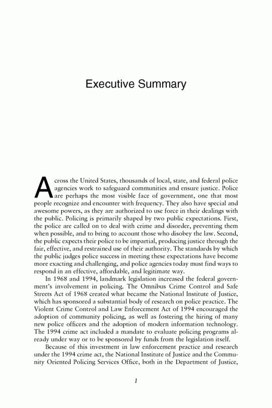Executive Summary | Fairness and Effectiveness in Policing: The ...