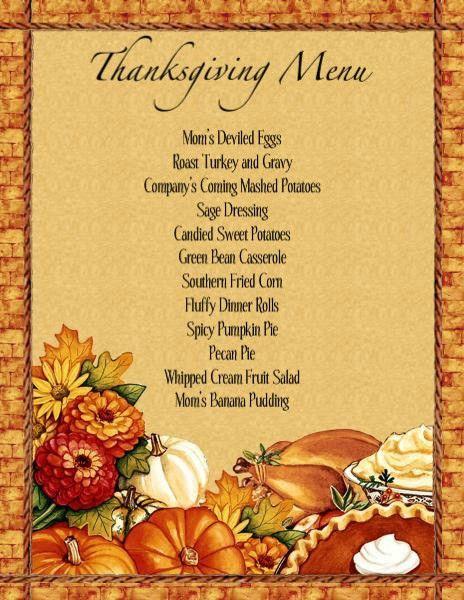 Thanksgiving Dinner Menu Template | Thanksgiving Dinner Menu ...