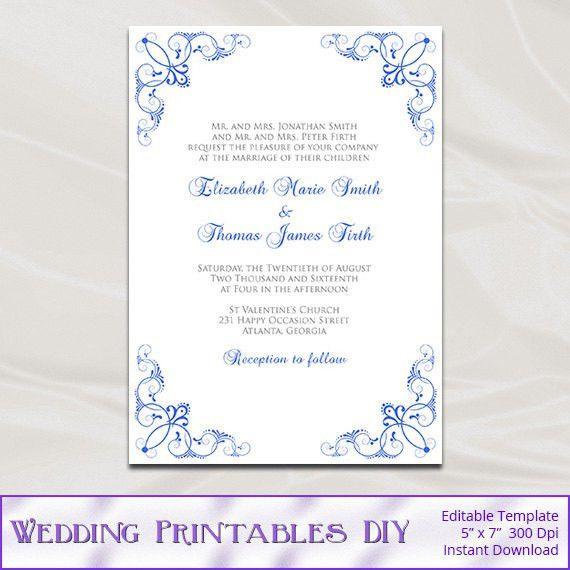 Royal Blue Wedding Invitation Template Diy Printable Blue