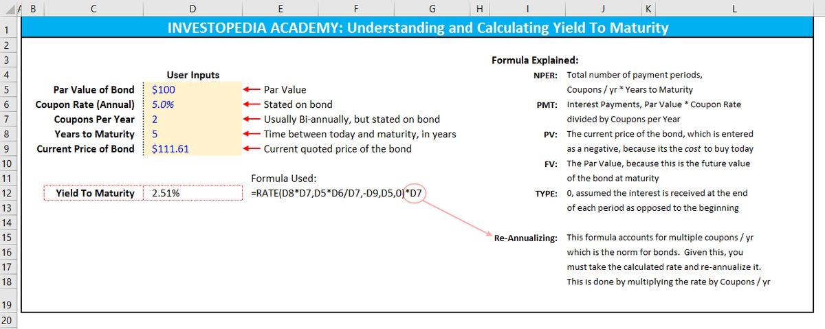 How do I calculate yield to maturity in Excel? | Investopedia