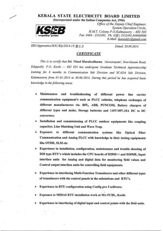 Certificate, KSEB