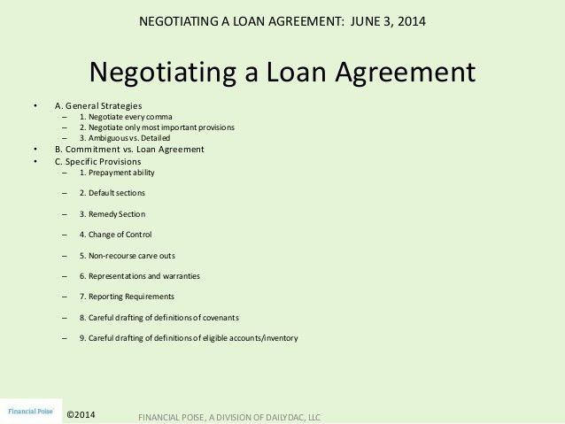 Negotiating the Loan Agreement