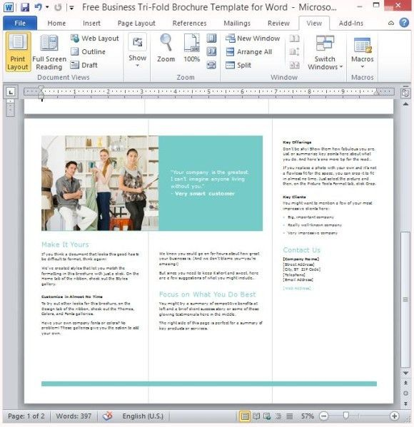 Free Business Tri-Fold Brochure Template For Word