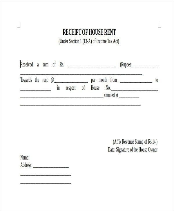 receipt forms free