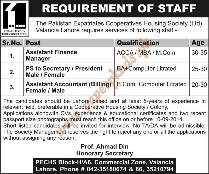 Assistant Finance Manager, PS to Secretary, Assistant Accountant ...