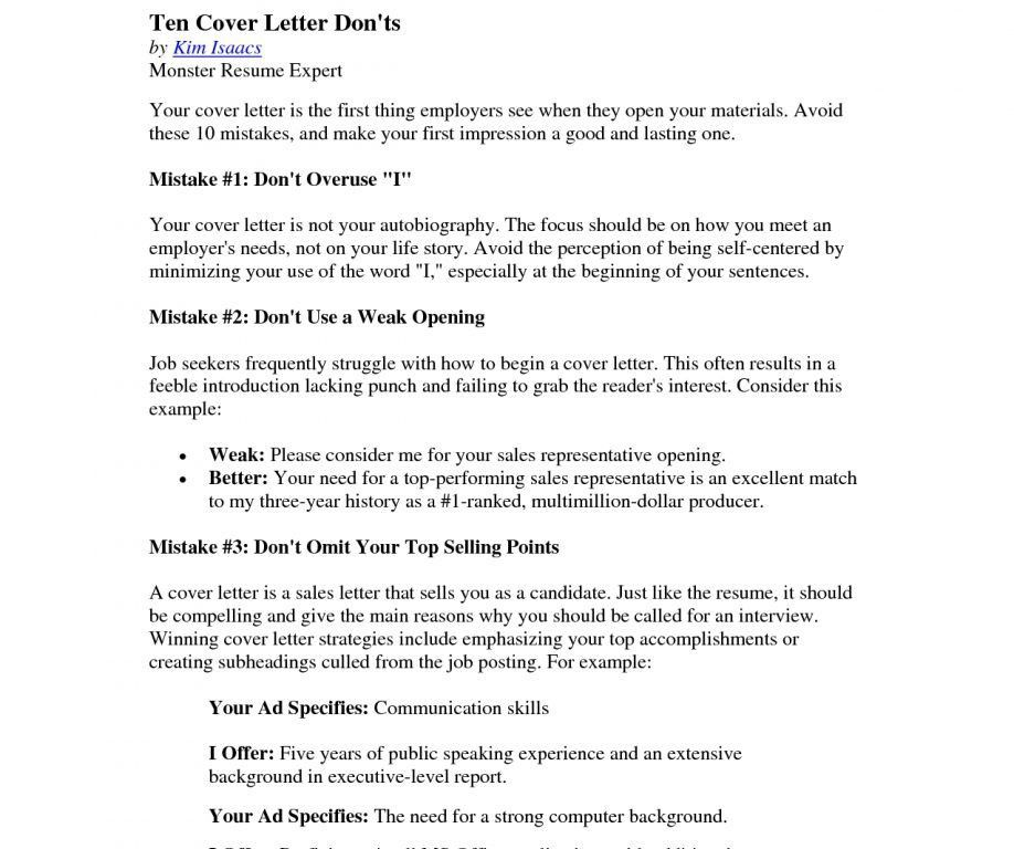 Impressive Design Ideas Monster Cover Letter 12 Sample Winning ...