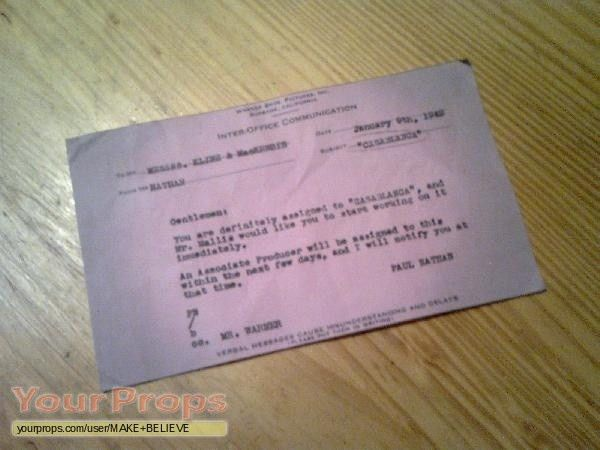 Casablanca Inter Office Communication January 9th, 1942 copy ...