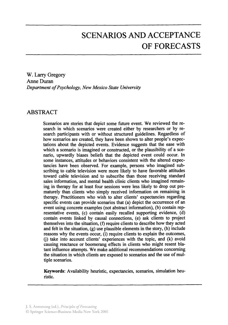 Scenarios and Acceptance of Forecasts - Springer