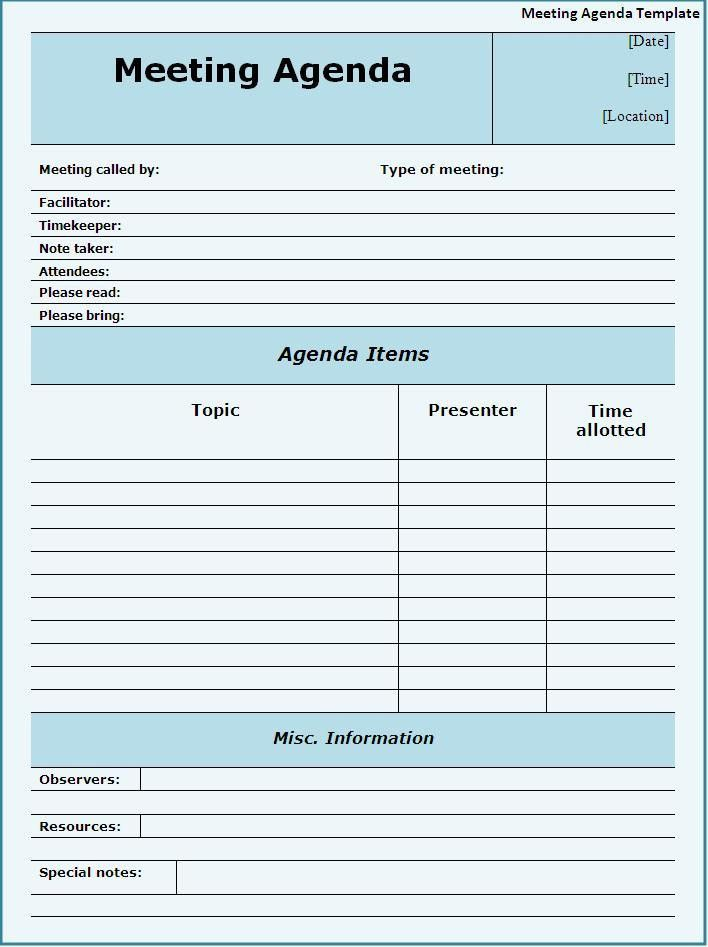 meeting agenda template word free | Professional Templates