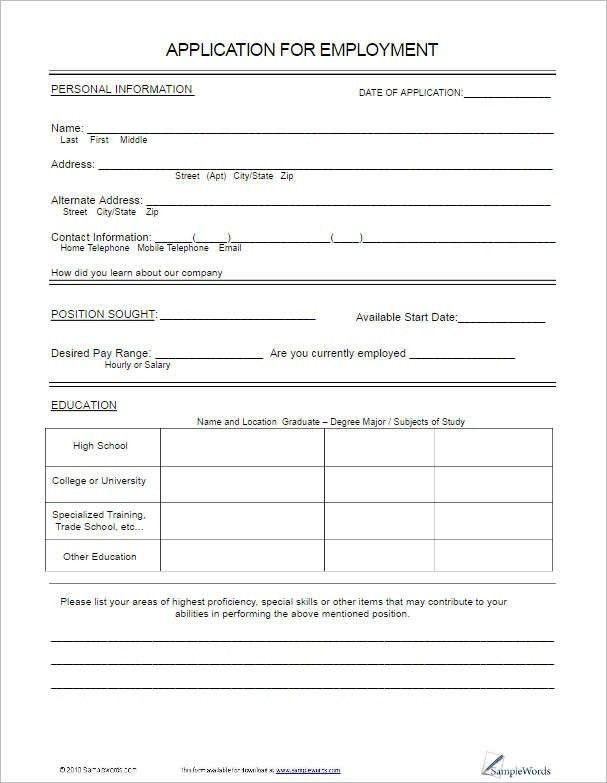 Employment Applications Template. employment application form ...