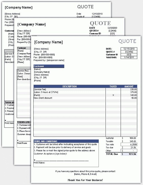 Invoice Quotation Template | free printable invoice