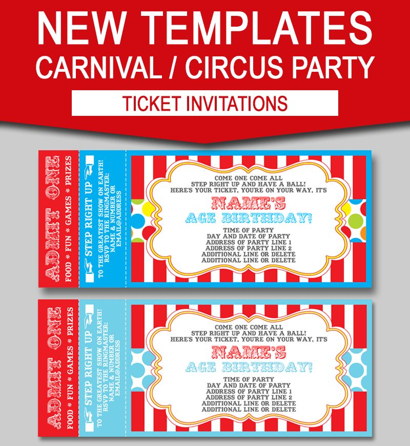 Editable Carnival Ticket Invitations | Circus or Carnival Party