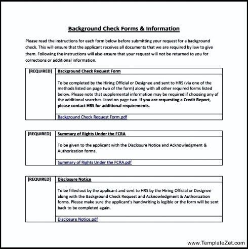 Background Check Form Example | TemplateZet