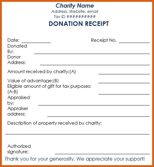 donation receipt template | apa examples