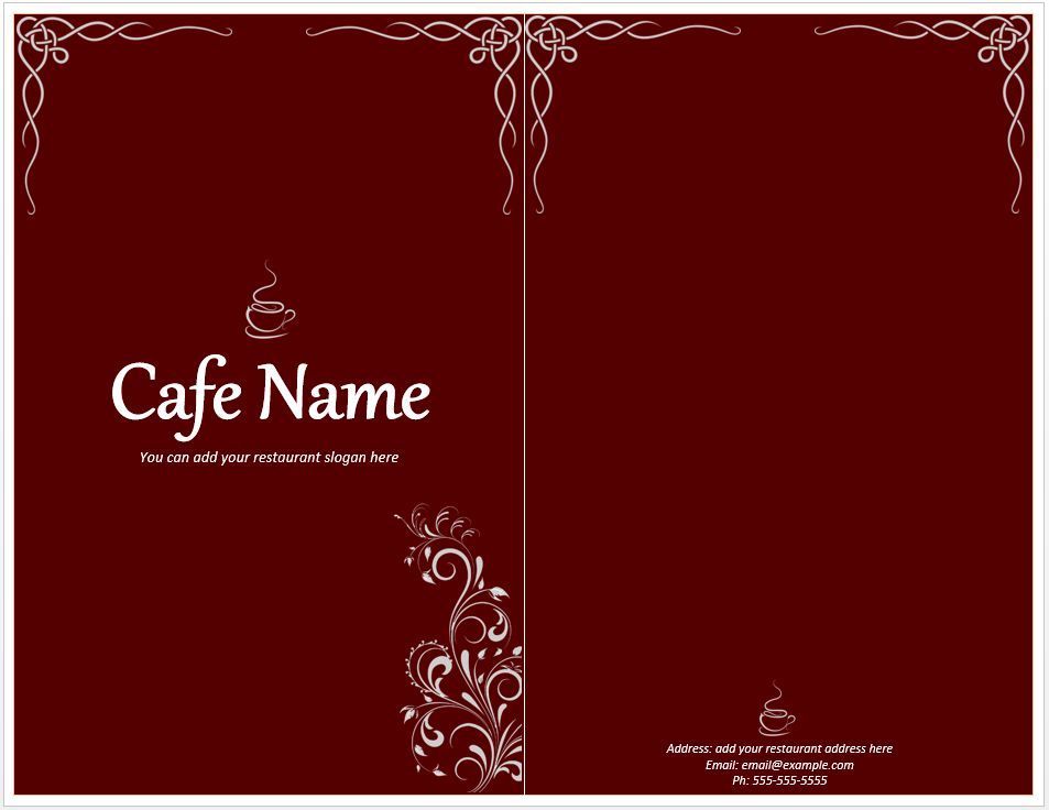 Cafe Menu Template – Free Template Downloads