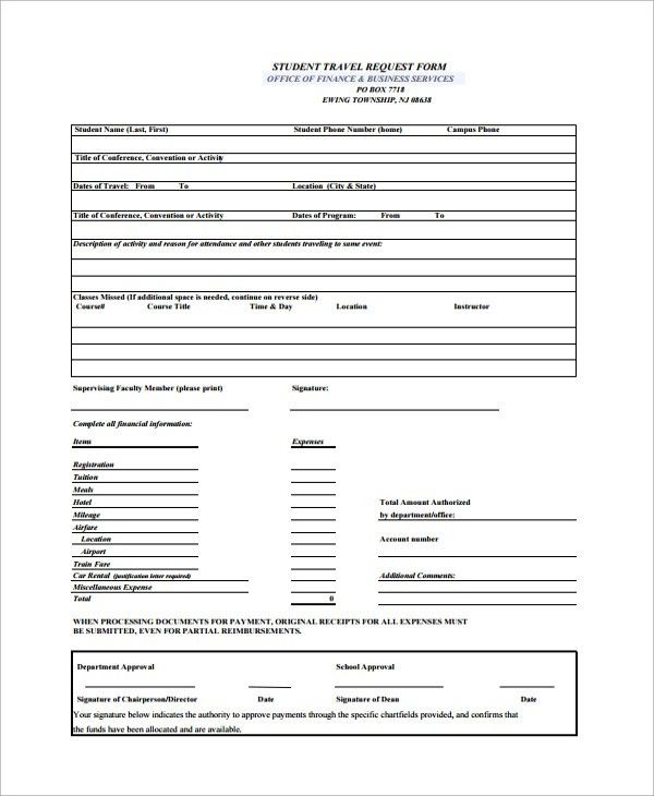 Sample Travel Request Form - 9+ Free Documents Download in PDF, Word
