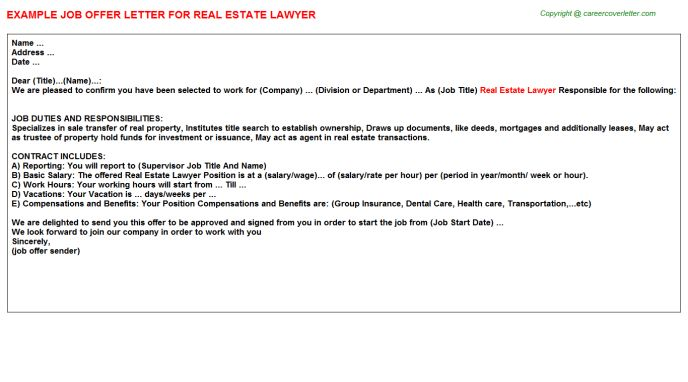 Real Estate Agent Offer Letters