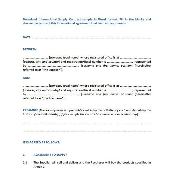 Supplier agreement contract template supply agreement template supply contract template 9 download free documents in pdf word pronofoot35fo Image collections