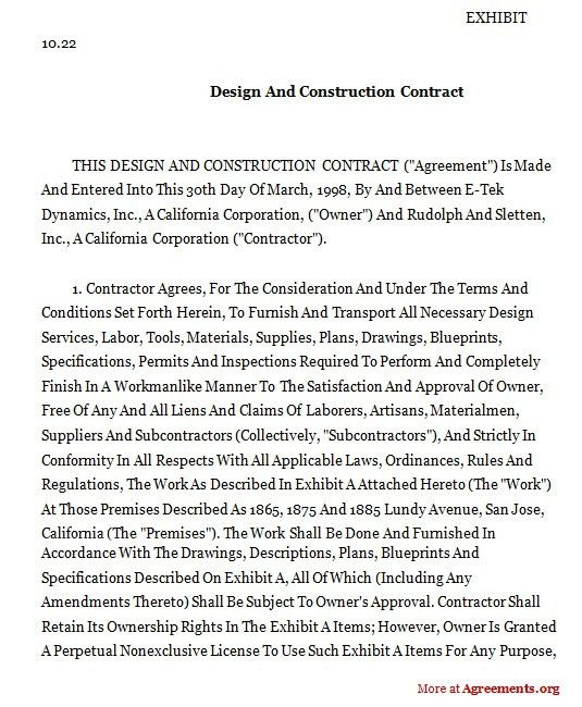 Design And Construction Contract,Sample Design And Construction ...