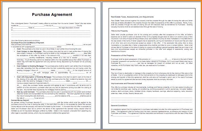 3+ purchase agreement template | writable calendar