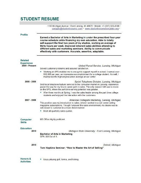 27+ [ Sample Student Resumes ] | Resume Samples For All ...