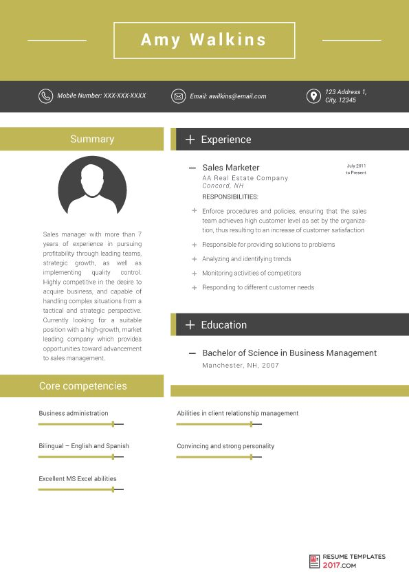 Marketing Resume Template Can Help You To Be Hired To the Best ...