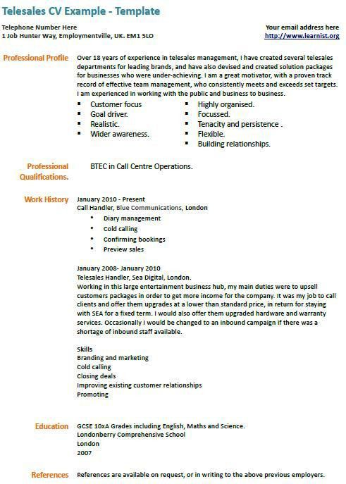 Telesales - marketing cv example | education | Pinterest | Cv ...